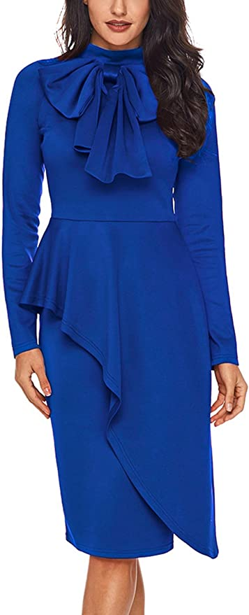 1940s Dress Styles CILKOO Womens Tie Neck Peplum Waist Long Sleeve Bodycon Business Dress(S-XXL) $36.99 AT vintagedancer.com