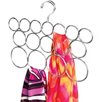 mDesign Scarf Holder - 16 Loop Shawl and Scarf Organiser - Wardrobe Organiser for Scarves and Shawls or Belts - Ideal as Scarf Holder and Shawl Organiser - Chrome