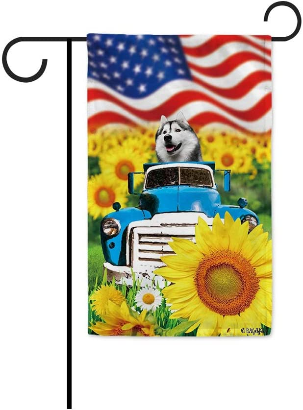 BAGEYOU 4th of July Patriotic Dog Garden Flag Cute Husky Rustic Sunflowers Farm Retro Old Truck Independence Day Summer Decor Banner for Outside 12.5x18 Inch Print Double Sided