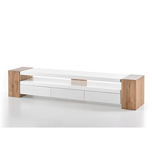 Design TV Lowboard JULE II 200cm Original MCA Matt Weiss Lackiert Eiche  Massiv Beine