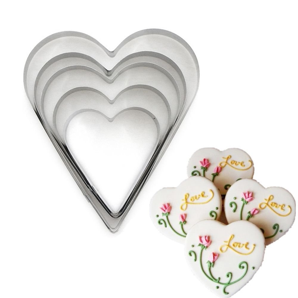 MAXGOODS 5Pcs Heart Shaped Cookie Cutters,Stainless Steel Multi-Size Fondant Biscuit Cutter Candy Making Molds,DIY Baking Tools