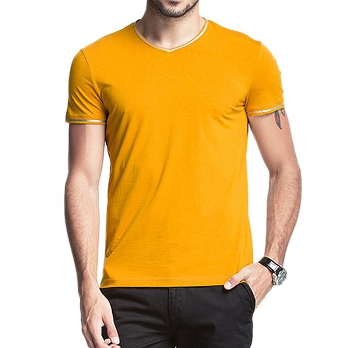Minetom Hombres Moda V-Cuello Camisetas Casual Manga Corta Tapas Sudaderas Fitness Camisas: Amazon.es: Ropa y accesorios