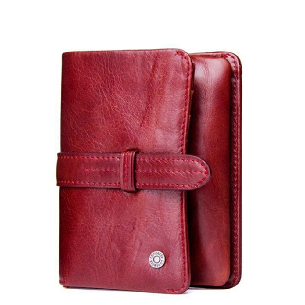 Luxury Brand Women's Genuine Cow Leather Short Wallets Luxury Card Holder Purses (Red)