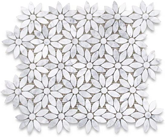 Stone Center Online Carrara White Marble Daisy Flower Pattern Mosaic Tile Honed For Kitchen Backsplash Bathroom Flooring Shower Surround Dining Room Entryway Corrido Spa 1 Sheet Amazon Com