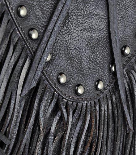 Cross Handmade Body Studed Leather ZLYC Dye Tassel Fringe Bohemian Women Dip Gray Bag vq51Tzw