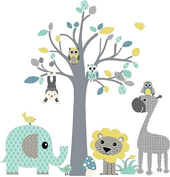 DecoDeco Wandtattoo Baum safari Blau. Wandbild im Baummotiv mit ...
