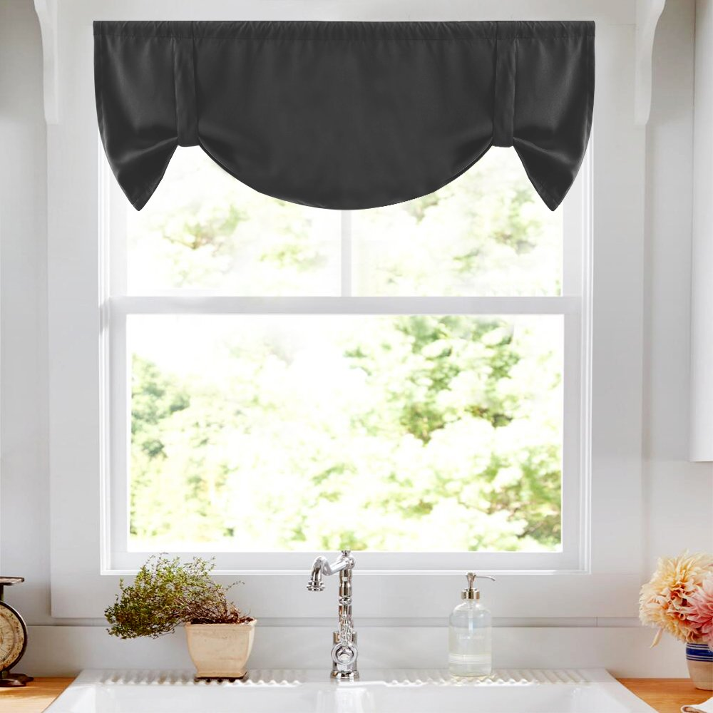 Tie Up Curtains for Windows Room Darkening Curtain Tie-up Valance for Kitchen Windows Adjustable Balloon Window Shades, Rod Pocket, 20'' L - Black