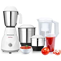 Lifelong 500 Watt Juicer Mixer Grinder with 3 Stainless Steel Jar and 1 Juicer Jar (White/Grey)