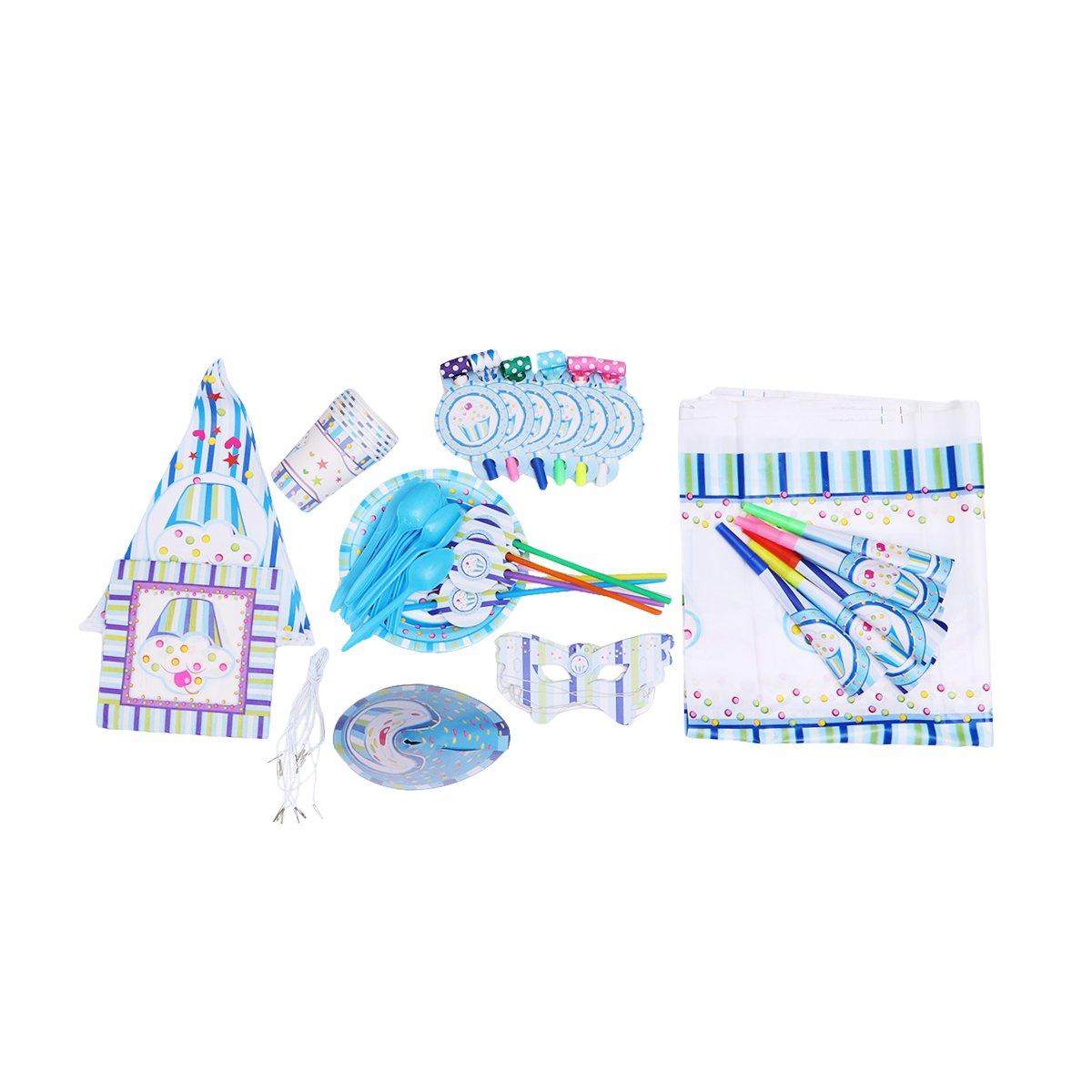 BESTOYARD Tema gelato Compleanno Party Supplies Pack Servizio da tavola Kit Set di forniture per bambini Compleanno e celebrazione