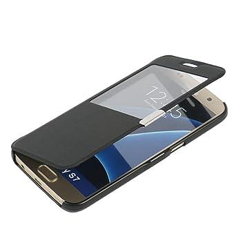 MTRONX para Funda Samsung Galaxy S7, Cover Case Carcasa Caso Ventana Vista Ultra Folio Flip Delgado PU Cuero con Cierre Magnetico para Samsung Galaxy ...