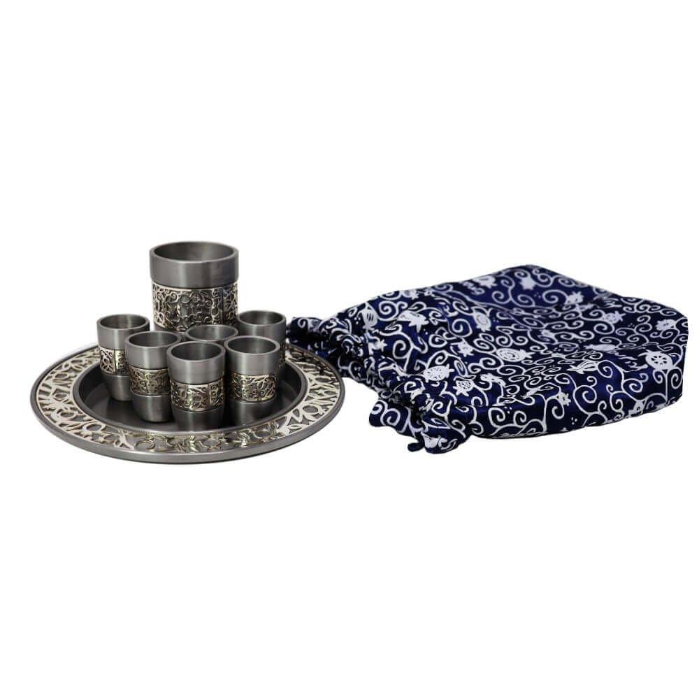 Kiddush Cup & Fountain Set - Yair Emanuel ALUMINUM KIDDUSH SET SILVER (Bundle) by Yair Emanuel (Image #1)