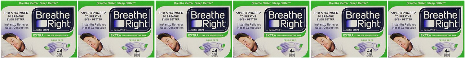 Breathe Right, Nasal Strips Extra Clear for Sensitive Skin cptpw 44 Count (Pack of 6)