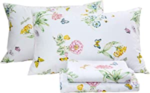 FADFAY Floral Bedding Elegant Butterfly Meadow Bed Sheets Set Luxury Bedding Collections 800 Thread Count 100% Egyptian Cotton Deep Pocket, 4 Piece-King Size