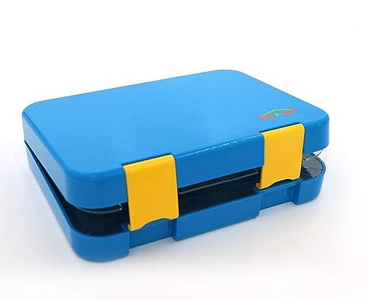 Fiambrera para la escuela para los adolescentes a prueba de fugas ni/ños Cajas de almuerzo Bento de 4 compartimentos aptas para microondas ni/ñas con Spork,Azul