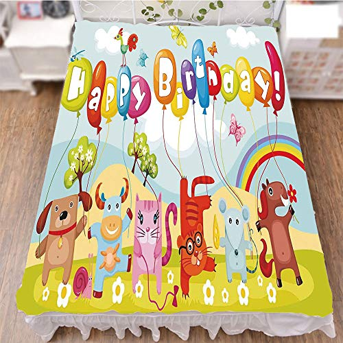 iPrint Bedding Bed Ruffle Skirt 3D Print,Farm Life Animals Balloons Rainbow Clouds Village,Fashion Personality Customization adds Color to Your Bedroom. by 70.9''x78.7'' by iPrint