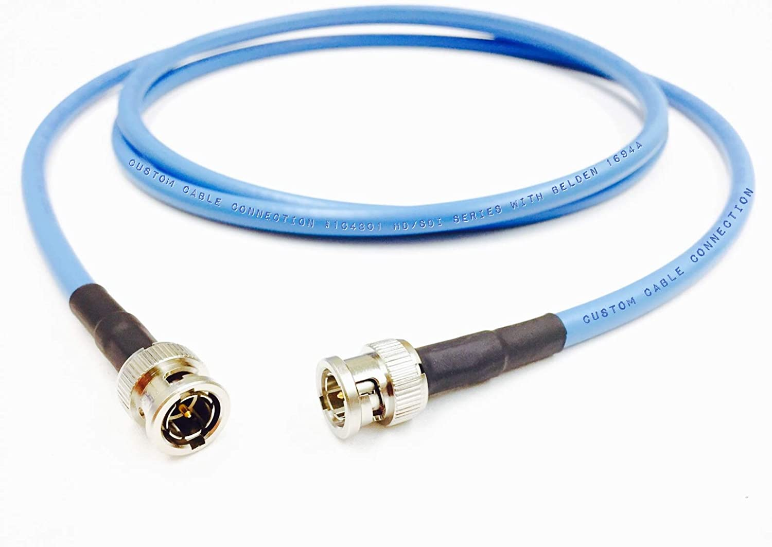 Custom Cable Connection 3 Foot Belden 1694A 6G HD-SDI RG6 BNC Cable (75 Ohm) Blue Jacket
