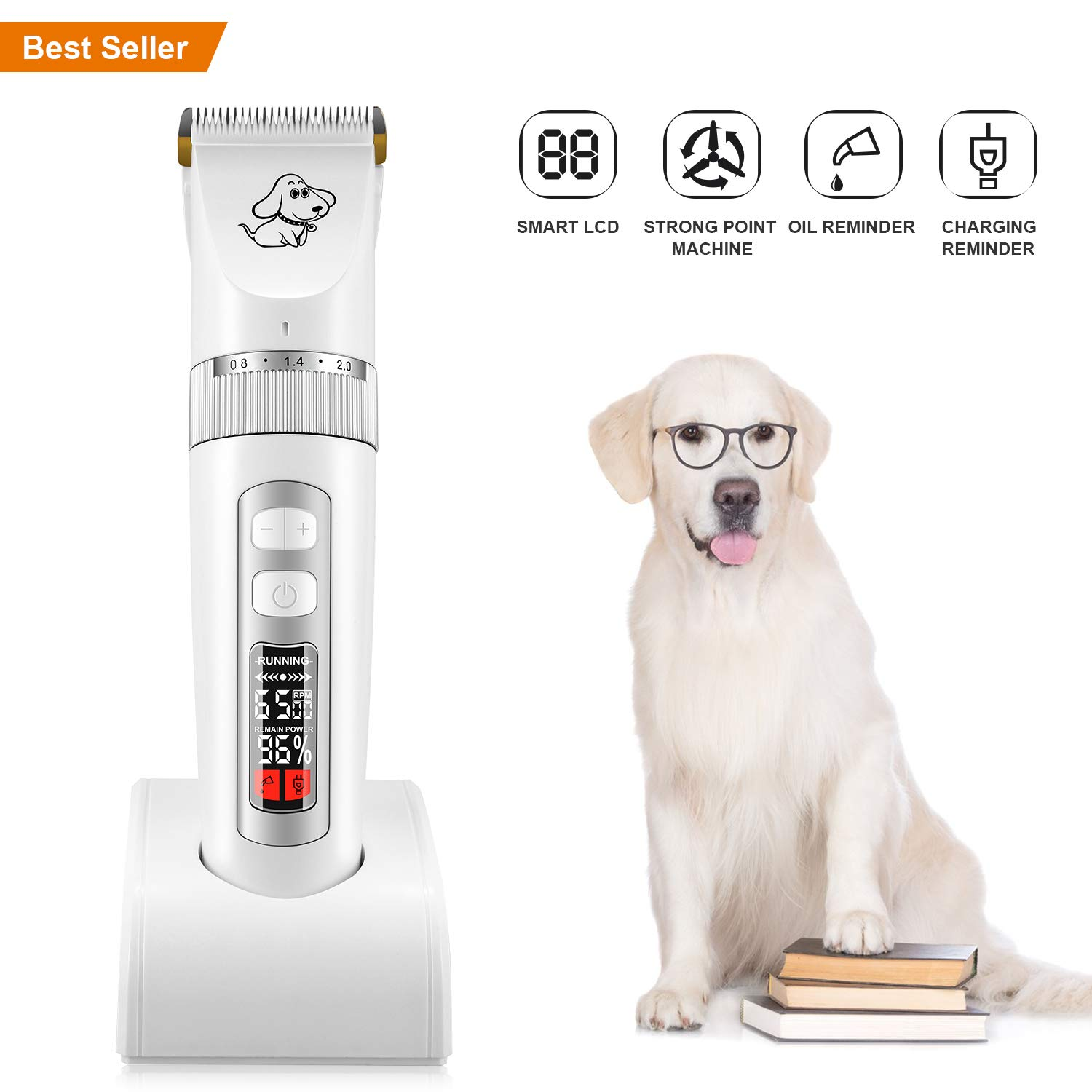 AFBEST Dog Grooming Clippers, Low Noise Rechargeable Cordless Dog Clippers, 3-Speed Professional Dog Clippers with 2 Charge Modes, LCD Screen Indication Intelligent Protection