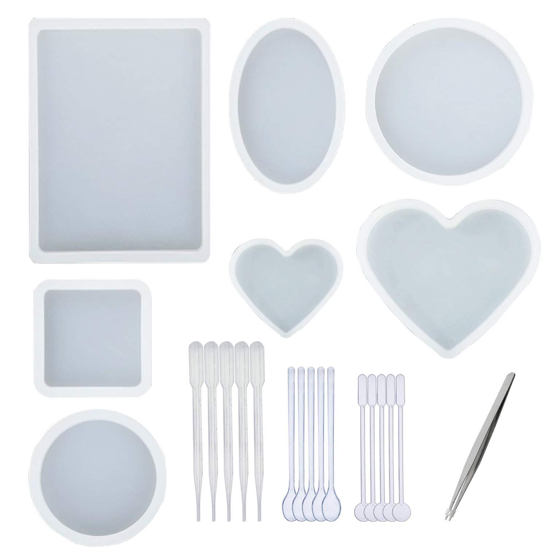 Woohome 7 Pz Molde Silicona Resina, 5 Estilos Diseños Grandes Moldes de Resina, 1 Pz Pinza y 15 Pz de Fabricación de Plástico para La Decoración de ...