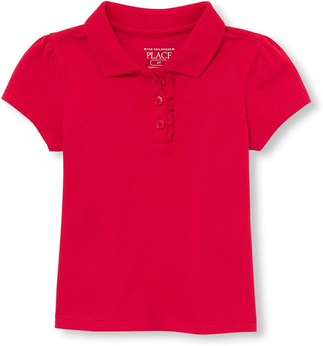The Children's Place Girls' Toddler Uniform Ruffle Pique Polo: Clothing