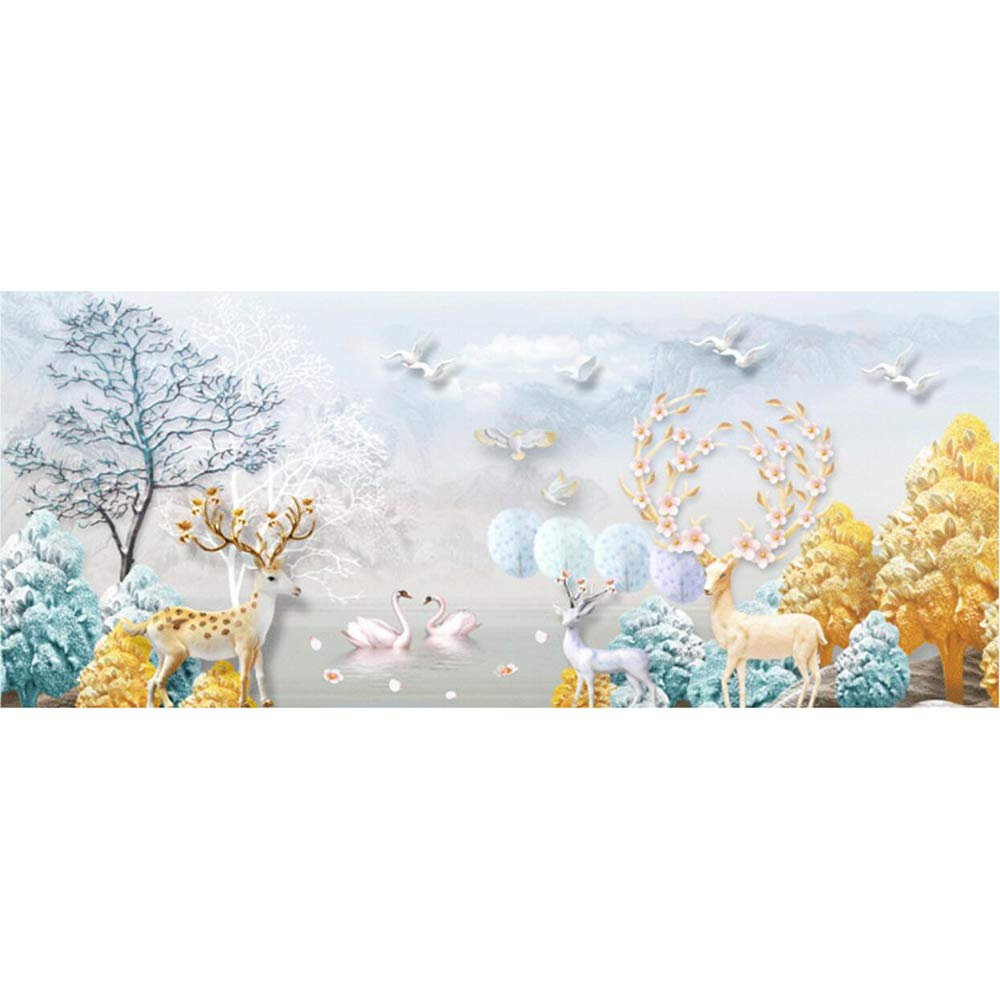 150X60CM/59X23inch 5D DIY Diamond Painting Nature Scenery Full round Diamond Embroidery Forest Deer Landscape Cross Stitch Mosaic by CRPSEN