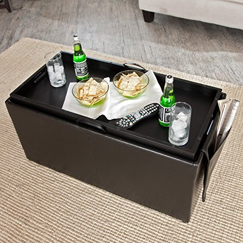 Amazon.com: Hartley Coffee Table Storage Ottoman With Tray   Side Ottomans  U0026 Side Pocket: Kitchen U0026 Dining