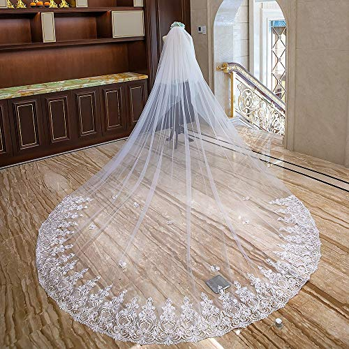 Wedding Veil Wedding Bridal Veil Long Trailing Church Tulle Lace Applique White Ivory Wedding Bridal Veil (Color : Ivory White, Size : 400cm300cm) ()