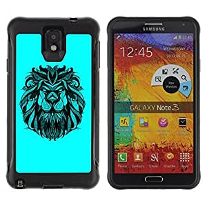 Hybrid Anti-Shock Defend Case for Samsung Galaxy Note 3 / Majestic Lion