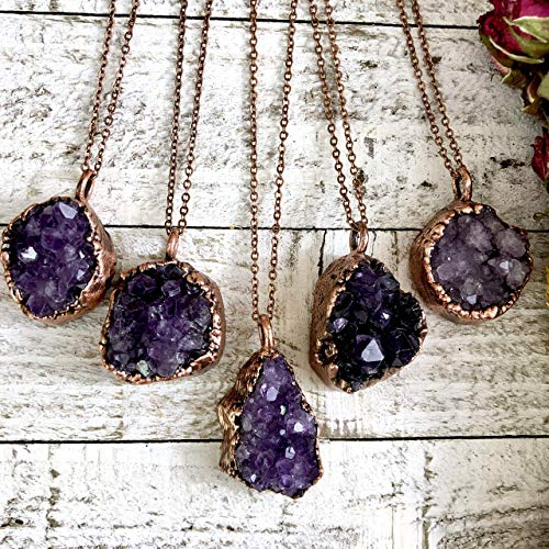 Druzy Raw Purple Amethyst Cluster Crystal Necklace Pendant Bohemian Rough Stone Jewelry