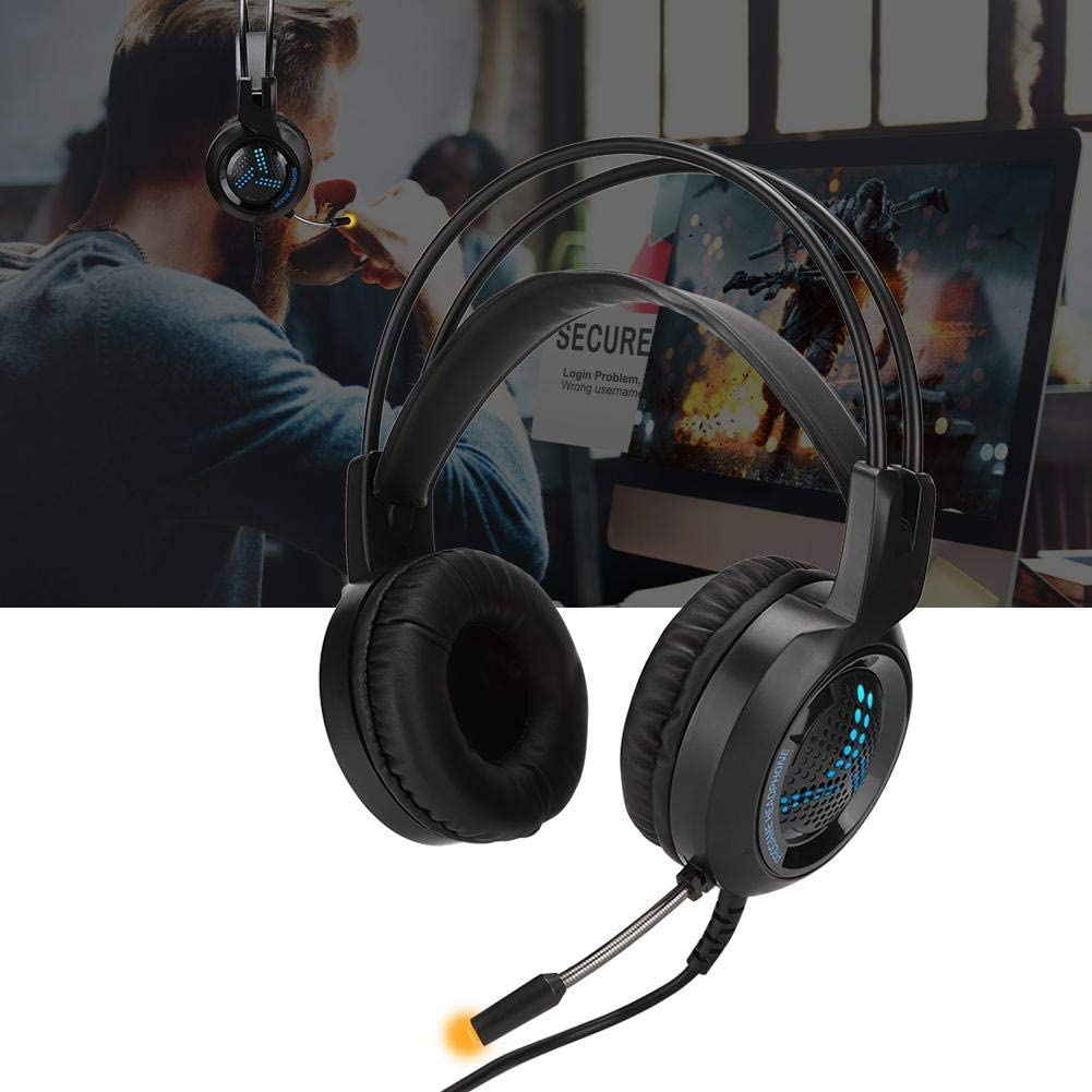 Zopsc Head-Mounted Headset Computer Game Music Esports Headset V2000 Anti-Noise Microphone with Color Light and Flexible PU Earcap Anti-Violence Headphoen for Internet Cafe