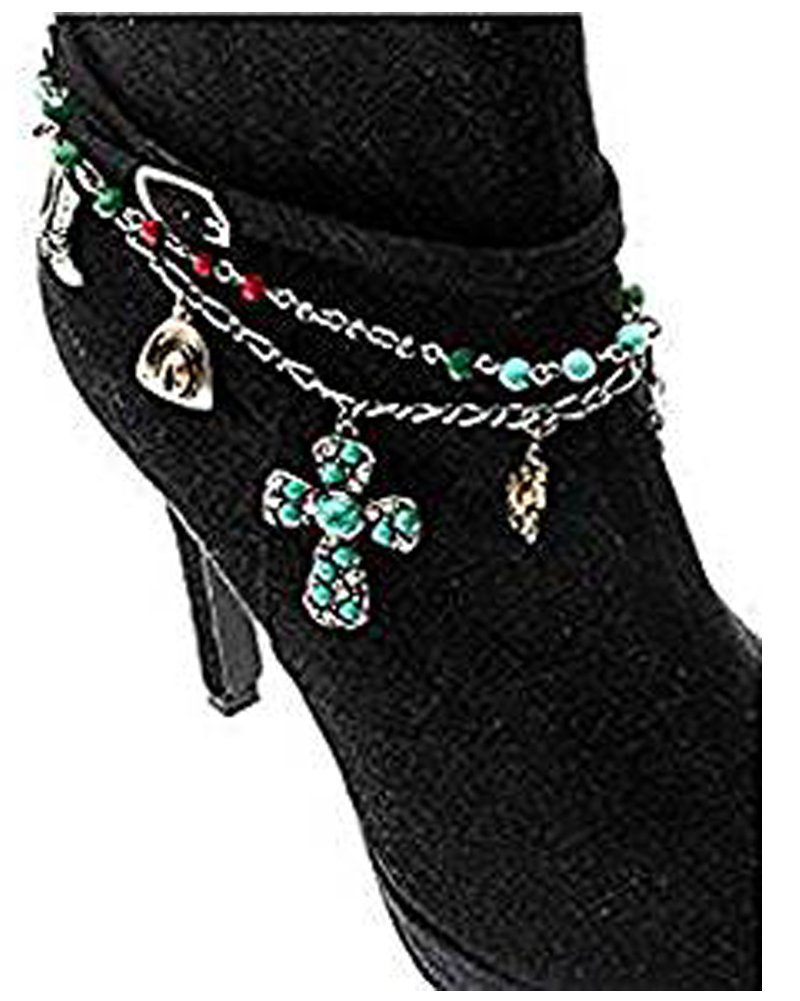 V G S Eternity Fashions Boot Chain ~ Cross Color Beads Boot Charm Anklet (Boot Charm 82402BTMU-S)