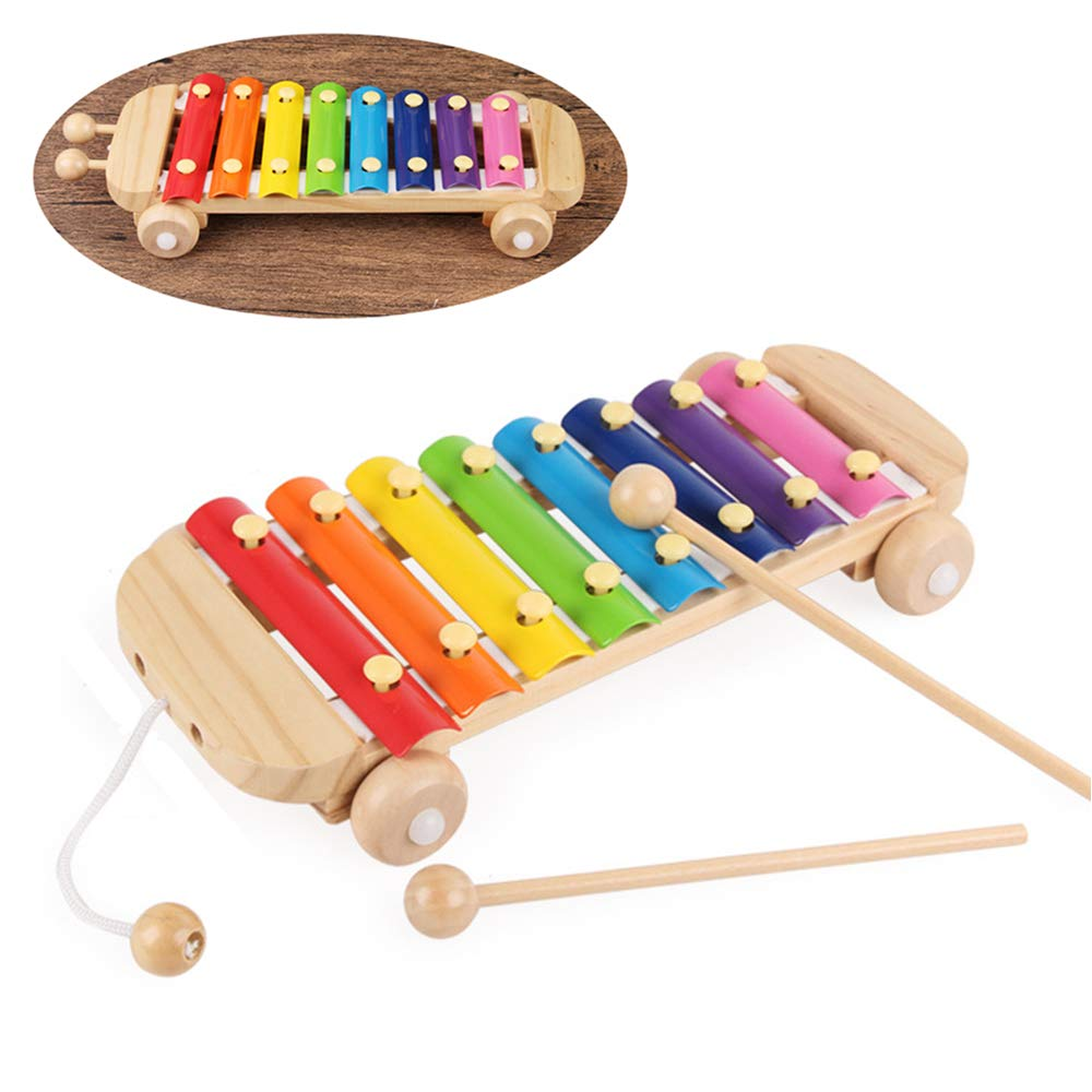 2in1 Wheels Version Xylophone for Kids 8 Notes Rainbow Glockenspiel Musical Toy with 2 Mallets Hand Knock Metallophone Musical Percussion Instrument for Class Party