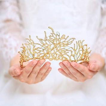 Couronne de princesse baroque royale dor/ée en cristal pour mariage
