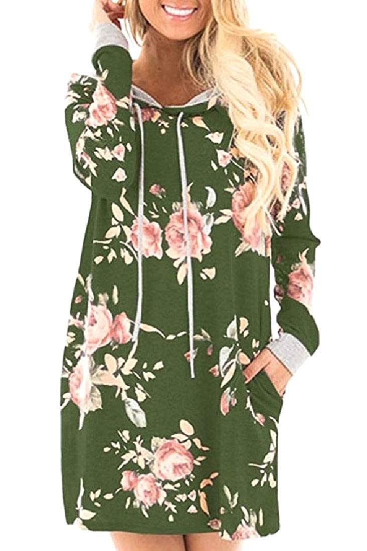 YUNY Womens Floral Printed Shift Dress Longline Tracksuit Top Green L