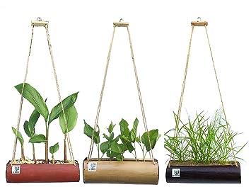 K dauz conjunto de 3 para colgar plantas Cesta Cilindro bambú Pot Decoración Interior Y