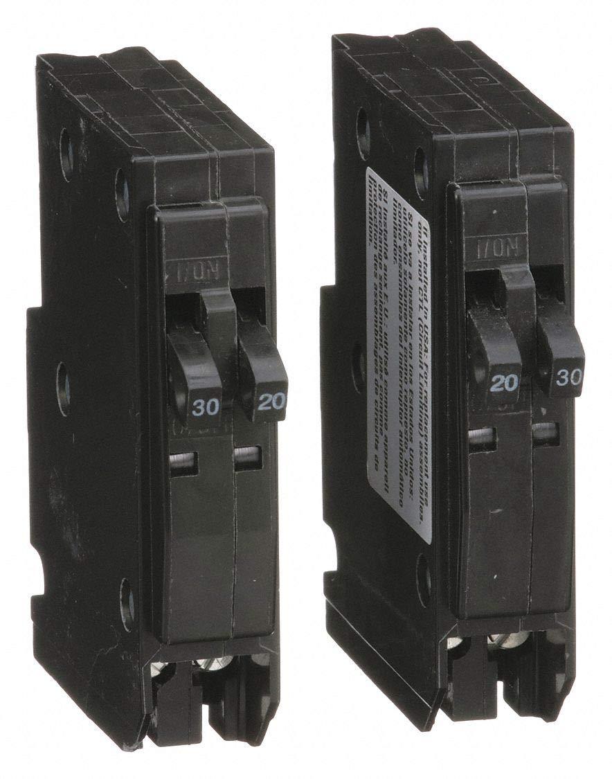 Square D Plug in Circuit Breaker, QO, Number of Poles 2, 20 30 Amps, 120 240VAC, Tandem