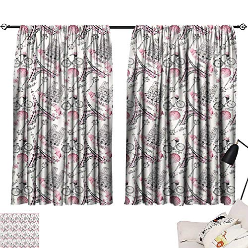 Ediyuneth Waterproof Window Curtain Eiffel,Artistic Composition Floral Landmark Notre Dame Cathedral Bicycle Air Balloon,Rose Black White 84