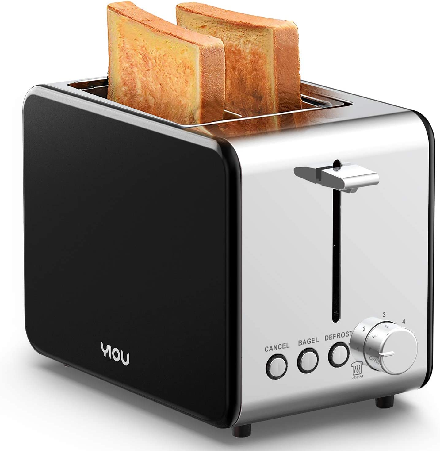 YIOU Toaster 2 Slice, Stainless Steel 2 Slice Toaster 1.5 Inch Extra Wide Slots 6 Browning Setting Toaster Bagel Toaster Reheat Defrost Cancel Function Removable Crumb Tray Easy Cleaning, Black