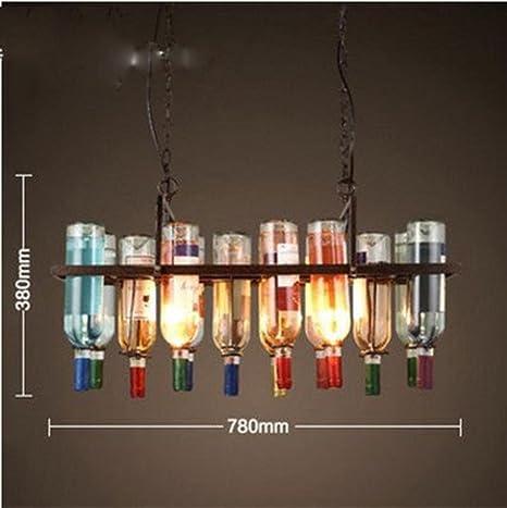 Nórdico Lámpara retro de viento industrial Color Botella de vidrio Barra Lámpara de araña Tienda de