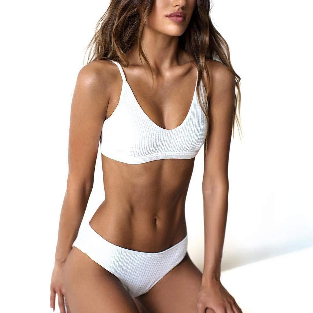 Amazon.com: AMOFINY Womens Fashion Swimwear Fashion Push-Up Padded Bra Beach Bikini Set Swimsuit Beachwear White: Clothing