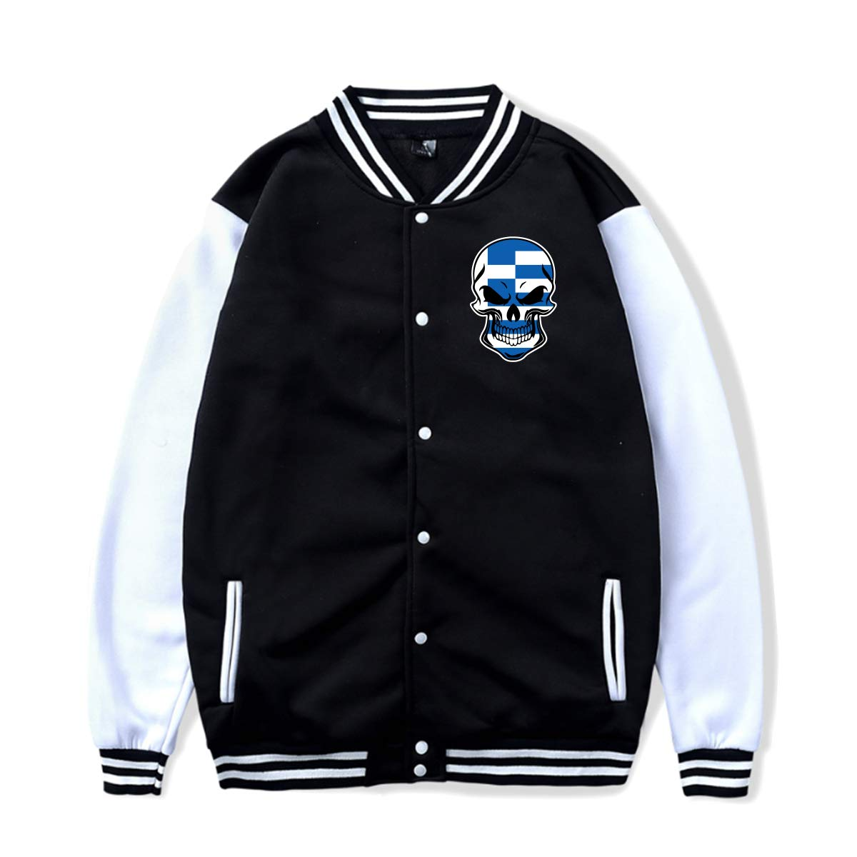 PLS/&A88 Unisex Baseball Jacket Uniform Greece Greek Flag Skull-1 Boys Girls Hoodie Sweatshirt Sweater Tee