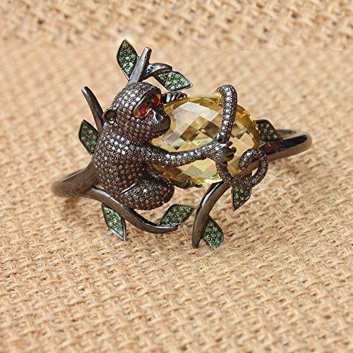 14k Gold Diamond Pave Tsavorite Ruby Gemstone MONKEY Bangle Fine Bracelet Silver