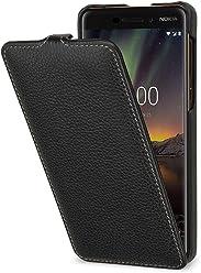 StilGut UltraSlim, Housse en Cuir pour Nokia 6.1. Étui de Protection à Ouverture Verticale en Cuir Fin et léger pour Nokia 6.1, Noir
