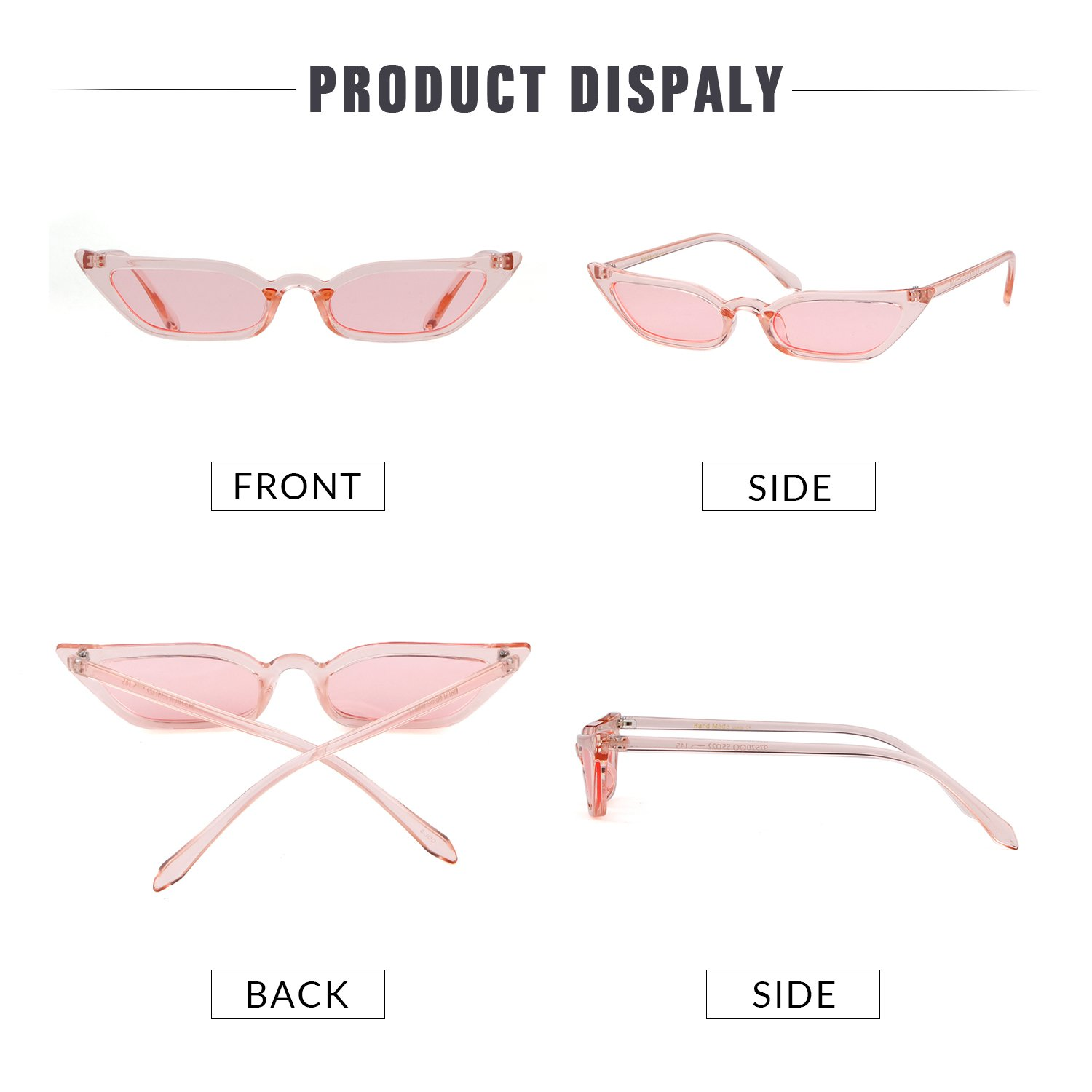 Vintage Sunglasses Women Cat Eye Candy lens Valentine's Day gift by ADEWU (Image #6)