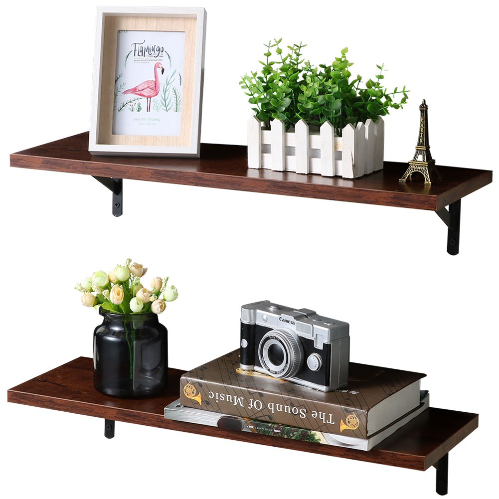 SUPERJARE Wall Mounted Floating Shelves, 2 Sets Display Ledge, Storage Rack for Room/Kitchen /Office