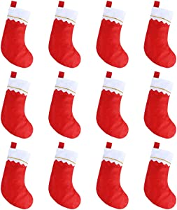 """CCINEE 12pcs Red Felt Christmas Stockings 15"""" Party Favors Stockings for Xmas Decoration"""