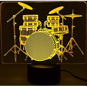 Drum Set 3D LED Lamp Optical Illusion Light (7 Color Changing, USB Cable). A great gift for musicians!
