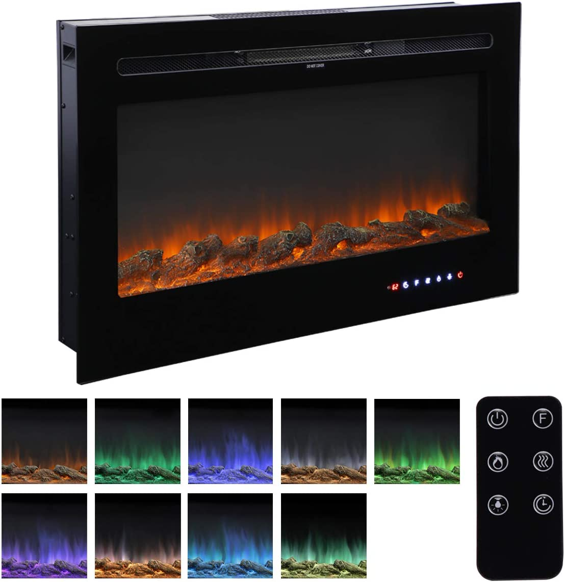 """Homedex 36"""" Recessed Mounted Electric Fireplace Insert with Touch Screen Control Panel, Remote Control, 750/1500W, Black"""