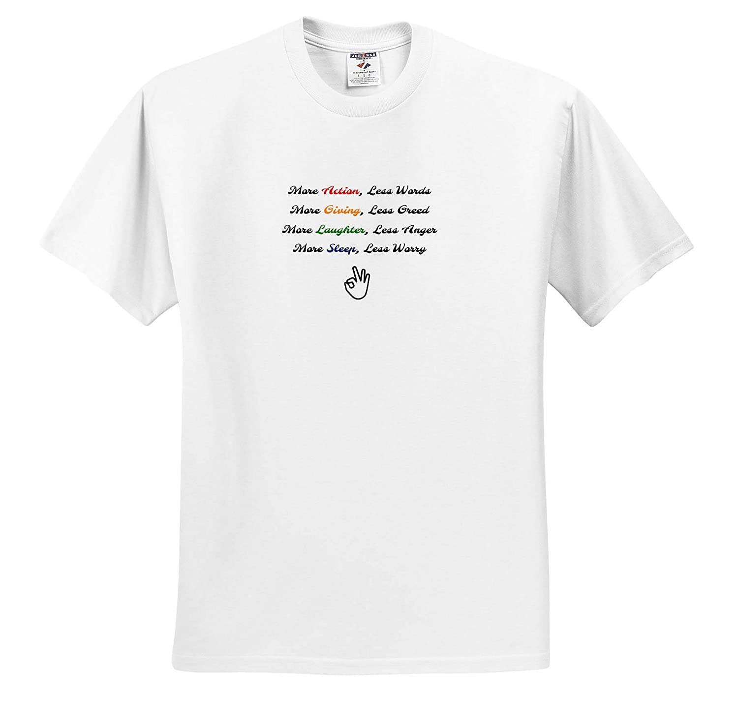 Image of More Action Less Words More Giving Less Greed More Laughter T-Shirts 3dRose 3D Rose Nicole R Quote