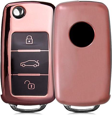 Housse de Protection dor/é Haute Brillance kwmobile Accessoire Clef de Voiture pour VW Skoda Seat Coque en Silicone pour Clef de Voiture VW Skoda Seat 3-Bouton