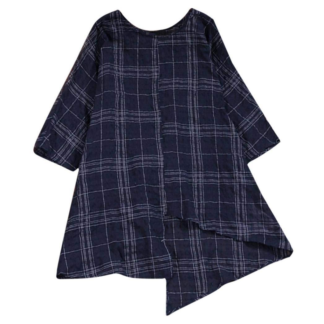 Huihong Frauen Baumwolle Leinenhemd Vintage Lose Drei Viertel Ä rmel Plaid Bluse Oberteile Pullover Huihong4228